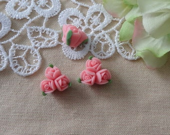 4pcs unique fimo rose flower,Coral Pink