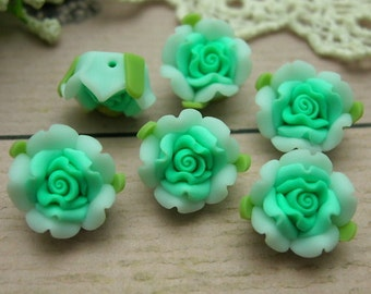 6 pcs Beautiful Fimo Rose Flower 12 mm,Lt  Green  (WP12-21)