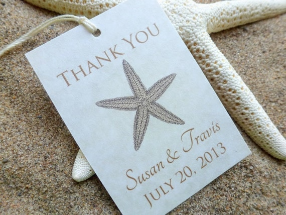 Free Printable Wedding Gift Tags: Printable Beach Wedding Favor Tags, Starfish Thank You