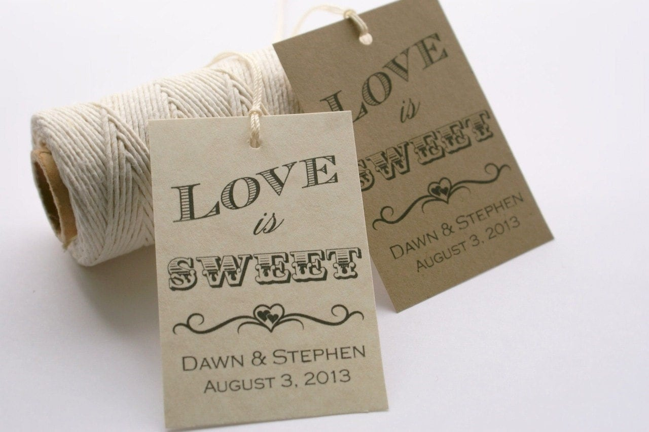 Witty image inside printable wedding favor tags