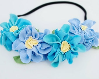 Flower crown blue floral head band fairy halo headband garland