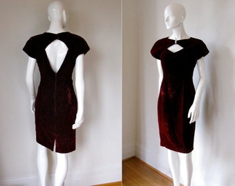 CLEARANCE Vintage Raspberry Maroon Velvet Keyhole Front and Back Holiday Cocktail Party Dress Bust 37