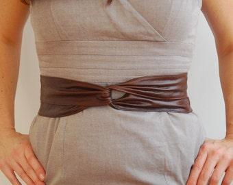 Dark Brown Leather Belt. Versatile Leather Wrap Belt.