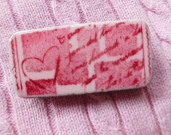 Vintage heart domino pin brooch Valentine gift