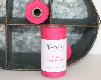 Bakers twine Solid color Bright pink Sorbet, fushia bakers twine, pink twine, bright pink cotton string, scrapbook twine,