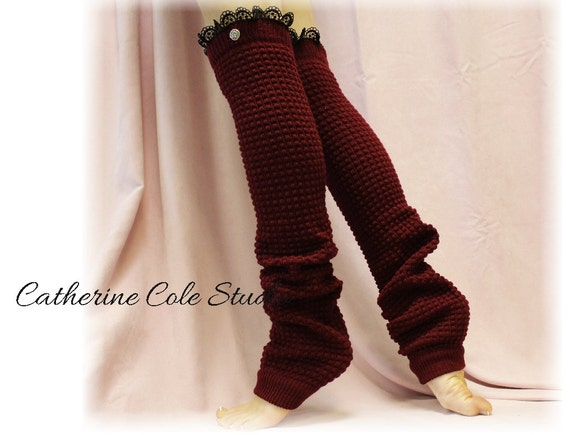 Knitting Patterns Leg Warmers Ballet : DANCE LOVE Burgundy Lace Leg warmers knit by ForeverLaceBoutique