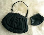 Vintage Black Faille Evening Bag by Garay