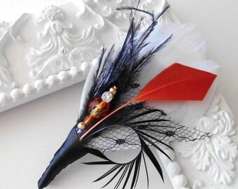 Feather Boutonniere Lapel Pin in White,Orange, Black Groomsman Groom