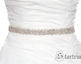 SALE Sharon Wedding Belt, Bridal Belt, Sash Belt, Crystal Rhinestones & beadss