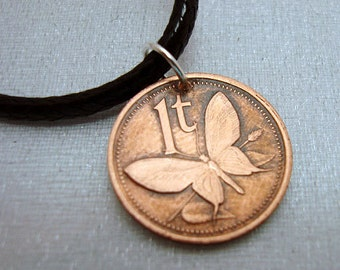 Coin Jewelry - Butterfly coin pendant - butterly necklace - copper penny - Papua New Guinea - Birdwing butterfly