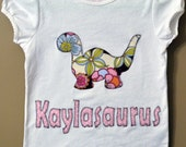 Girl's Dinosaur T-Shirt Personalized with Child's Name