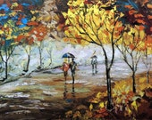 Original Painting Couple Love - Romantic  Walking  -- Palette knife Landscape Fall oil Cityscape Painting by IraSher