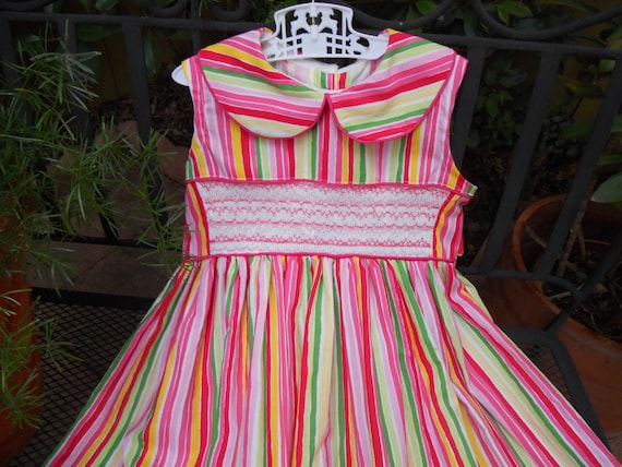 Size 5 Yellow, Pink and Green Dress Hand Smocked In Two Shades of Pink