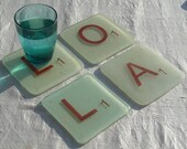 Personalised Fused Glass Scrabble Coasters