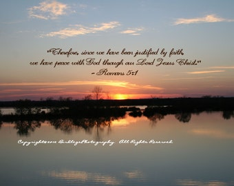 """4x5.5"""" Any Occasion Cards -Sunset of Pond with Bible Verse"""