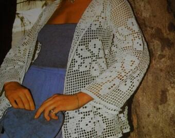 Crochet Filet Flowers Blazer,pdf Pattern,Instant Download