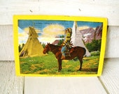 Vintage Indian tribe postcards Native American view folder 1950s souvenir