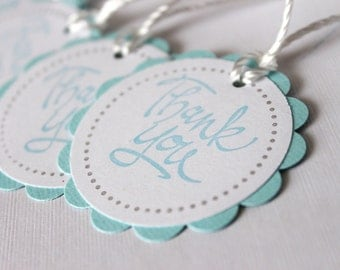 Baby Shower Favor Tags - Thank You Tags - Lt. BLUE - Set of 12 tags - Handmade