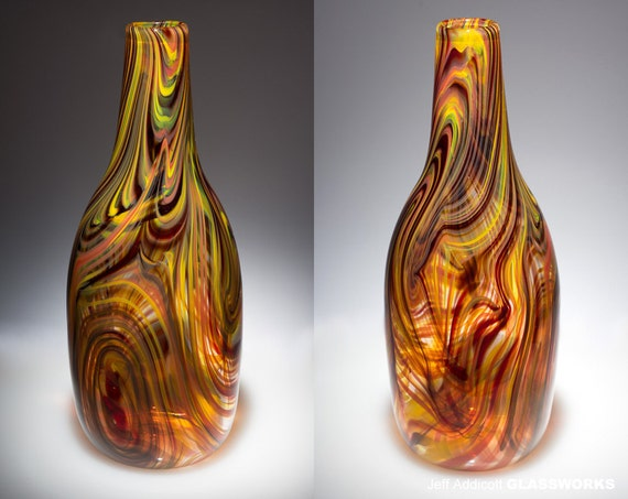 Hand Blown Glass Mars Pattern Bottle Vase
