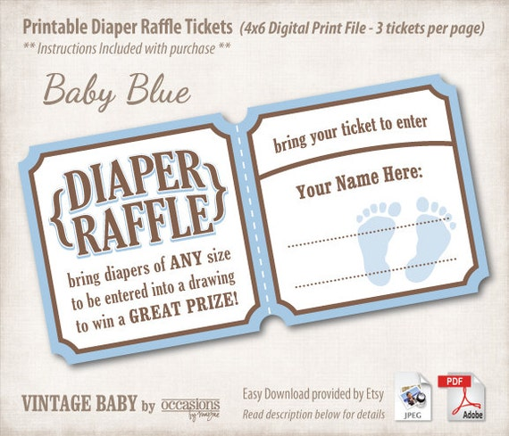 Baby Shower Diaper Raffle: INSTANT DOWNLOAD Printable Baby Shower Diaper Raffle Tickets