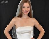SATIN RIBBON EDGE 1 Tier 30 Inch Elbow Veil in White or Ivory Tulle, custom handmade bridal wedding veil