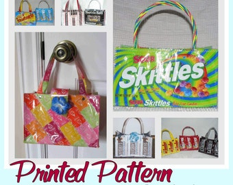 Small Candy Wrapper Purse sewing pattern (Printed pattern - Postal delivery) DIY purse using recycled wrappers, novelty purse, ready-to-ship