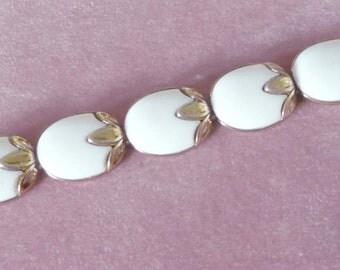 Trifari Bracelet Leaf Design White Lucite 1950-60s Signed