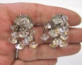 Vintage Aurora Borealis Crystal Chandelier non Pierced Earrings, AB finish Crystal Earrings, Vintage Bridal Earrings, Prom Earrings