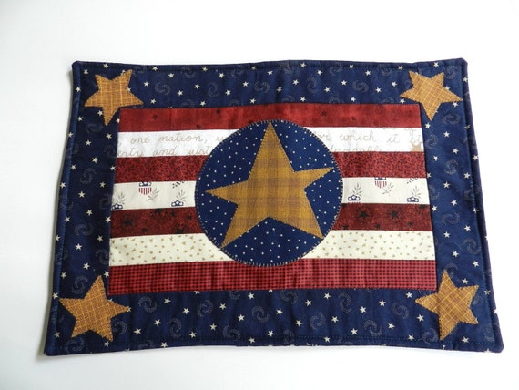 Handmade Red White Blue Patriotic Colors Quilted Pillow Cover with Applique Stars Styled like a Flag COVER ONLY