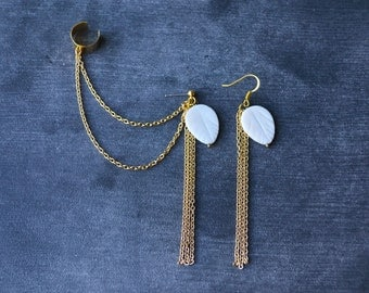 Mother of Pearl Leaf Chain Ear Cuff (Pair)