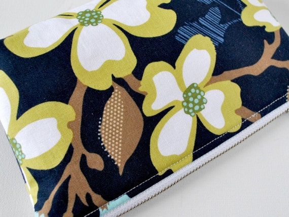 Padded protective make up pouch Woodland floral blossoms ...