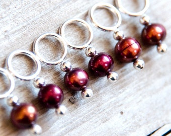 Knitting Markers // Stitch Markers // Snag Free // Burgundy and Coppery Red // Freshwater Pearls // Snagless // Set of 6