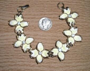 Vintage Rhinestone Flower Bracelet With Enamel 1950's Jewelry 3075