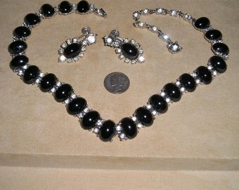 Bogoff  Necklace Earrings Vintage With Black Glass Cabochons & Rhinestones Screw Backs 1940's Signed Jewelry 2145