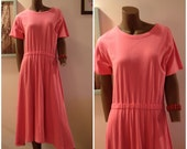 1980s Pink Cotton Jersey Dress with Elastic Waist