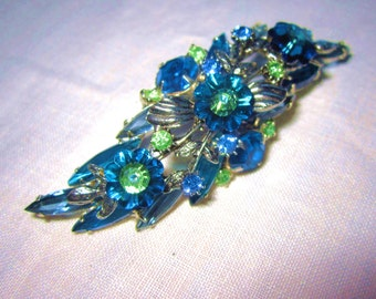 Brooch Vintage Juliana Style Ravioli Blue & Light Green Rhinestones in Floral Swag