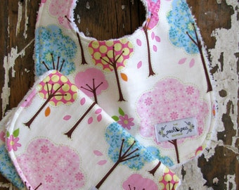 Baby Gift Set Bib & Burp Cloth Set - Pink Trees Pretty Little Things - Baby Girl