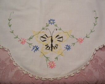Embroidered Butterfly Runner Vintage Dresser Scarf with Yellow Butterfly