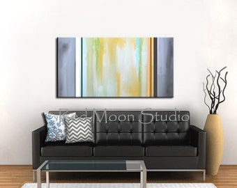 Abstract Art - Shipping Included - Large 48x24 - Abstract Painting, Yellow and Grey Gray, Original Yellow Painting