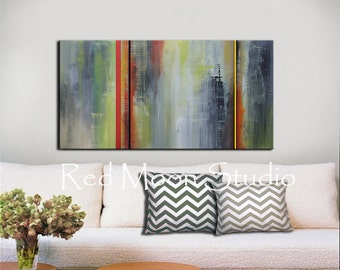 Abstract Painting, Abstract Art, Green and Grey Gray - Shipping Included - Large 48x24 - Original Abstract Art on Canvas