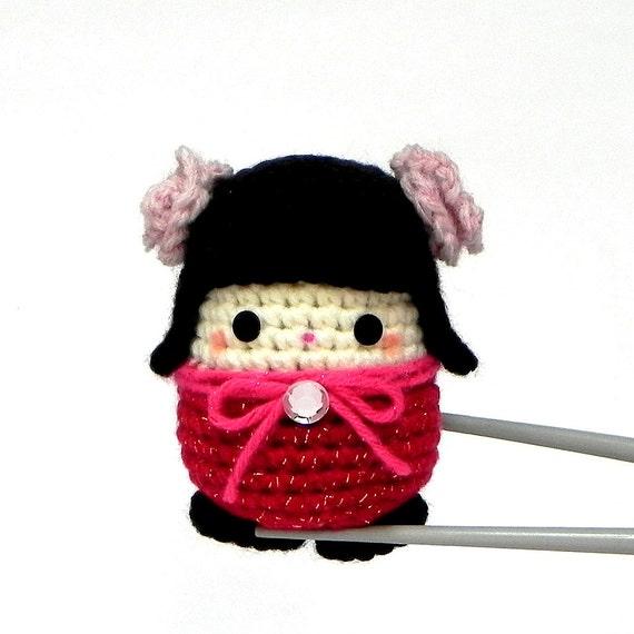 Amigurumi kokeshi mini size doll Hana MochiQtie by MochiQtie