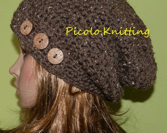 SALE !! Hand Crochet Slouchy Hat, All Seasons Beanie, Light Chunky Boho Cap with Three Eco Buttons in Barley