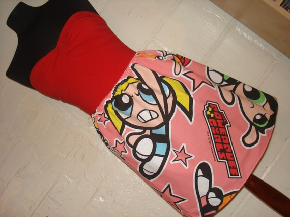 OOAK Powerpuff Girls Mini Skirt - High Waisted Ladies Mini Skirt -  Handmade & Ready to ship