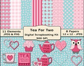 Tea for Two Digital Scrapbooking Kit - Valentine Clipart, Wedding Clipart, Tea Digital Papers, Digital Backgrounds