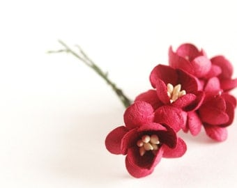 "1"" Red Paper Cherry Blossoms (5 blooms)"