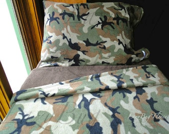 Camo Children's Bedding Set for Boys & Girls 'Dark Chocolate Camoflauge' Handmade Fleece Sheets Fits Crib and Toddler Beds