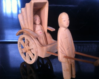 Diminutive Vintage Chinese Handcarved Wood Rickshaw MIniature
