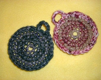Green and Maroon Plarn Dish Scrubbies recycled plastic bags