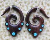 DERANI - Hand Carved Fake Gauge Earrings - Natural Brown Sono Wood with Turquoise Detail