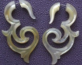 Tribal Fake Gauges - ASHA - Hand Carved Natural Mother of Pearl Earrings